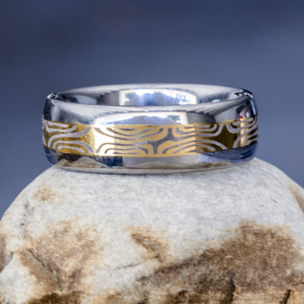 Mokume Tungsten Ring 8mm Lasered 14K Gold Overlay Dome 8-14 - PCH Rings
