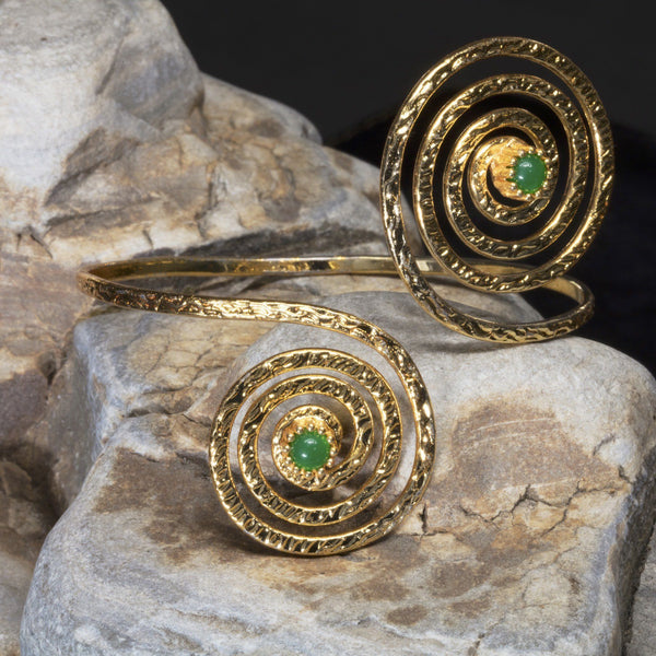 Trendy Bracelets 18K Overlay with Emerald Cuff Wrap - PCH Rings