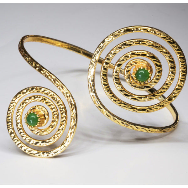 Modern Emerald Cuff Bracelet, 18k gold Overlay Fashion Jewelry - PCH Rings