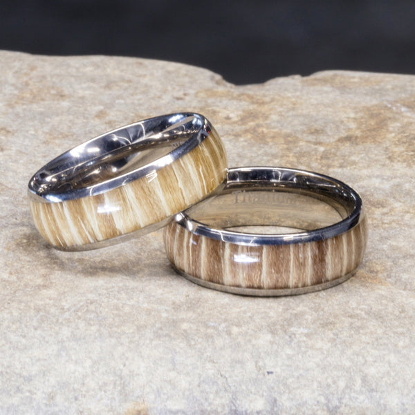 Titanium Wood Ring With Ashen Rose Zebra Wood, 8mm Comfort Fit Wedding Band - PCH Rings