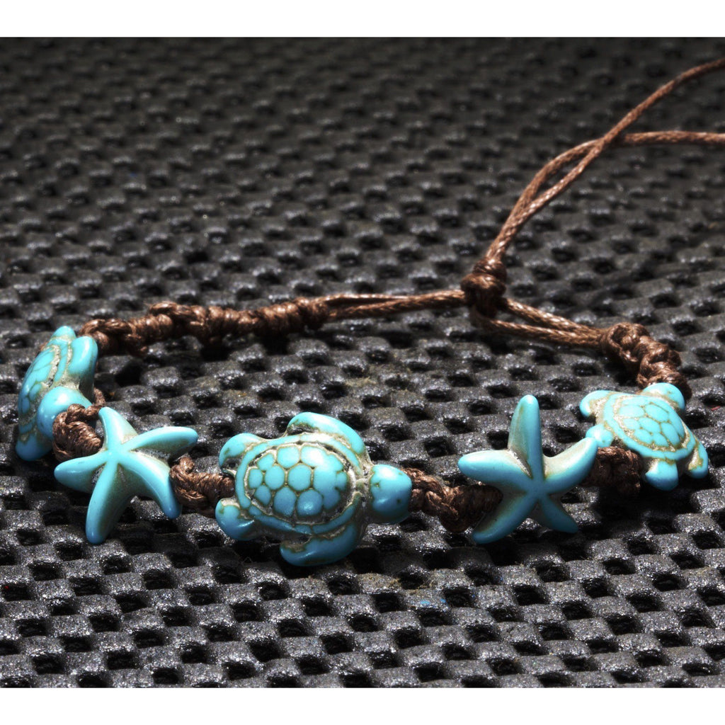 Leather Turtle Bracelet With Starfish, Turquoise Color, Adjustable length - PCH Rings