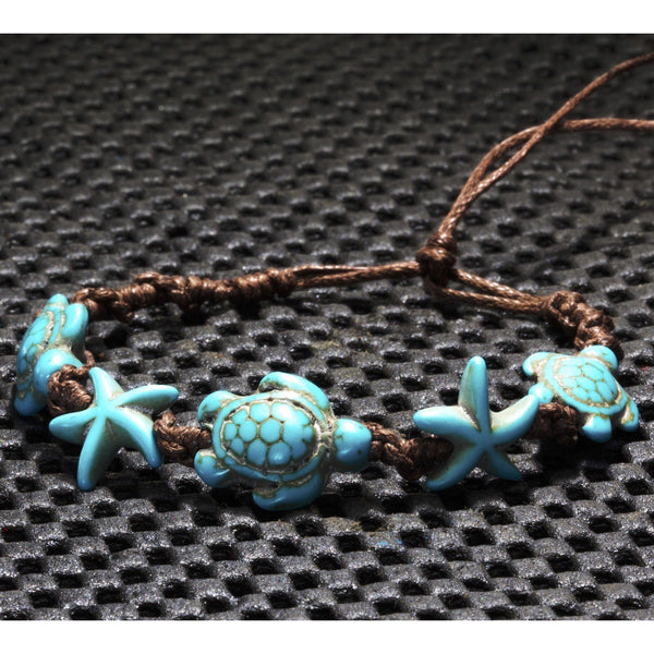 Turtle Bracelet+Star Fish Turquoise Colors Adjustable/Anklet - PCH Rings