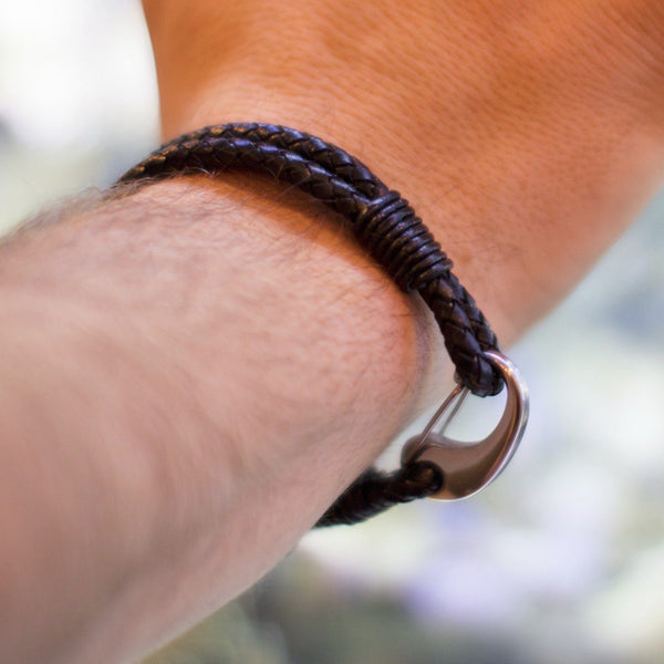 "Men's Black Leather Bracelet With Stainless Steel Clasp, 8"" Long - PCH Rings"