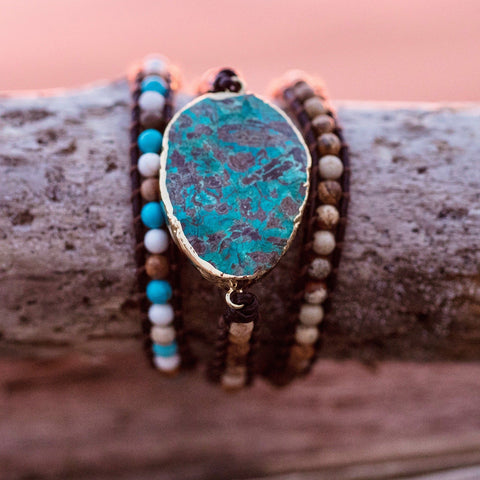 Ladies Leather And Gemstone Wrap Bracelet With Jasper, Turquoise And Agate - PCH Rings