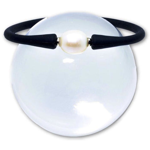 Freshwater White Pearl Bracelets Set in Black Silicone Rubber 10mm - PCH Rings