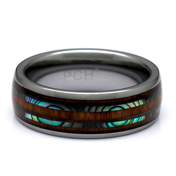 Tungsten Ring With Hawaiian Koa Wood Ring And Abalone Inlay,  8mm Comfort Fit Wedding Band - PCH Rings