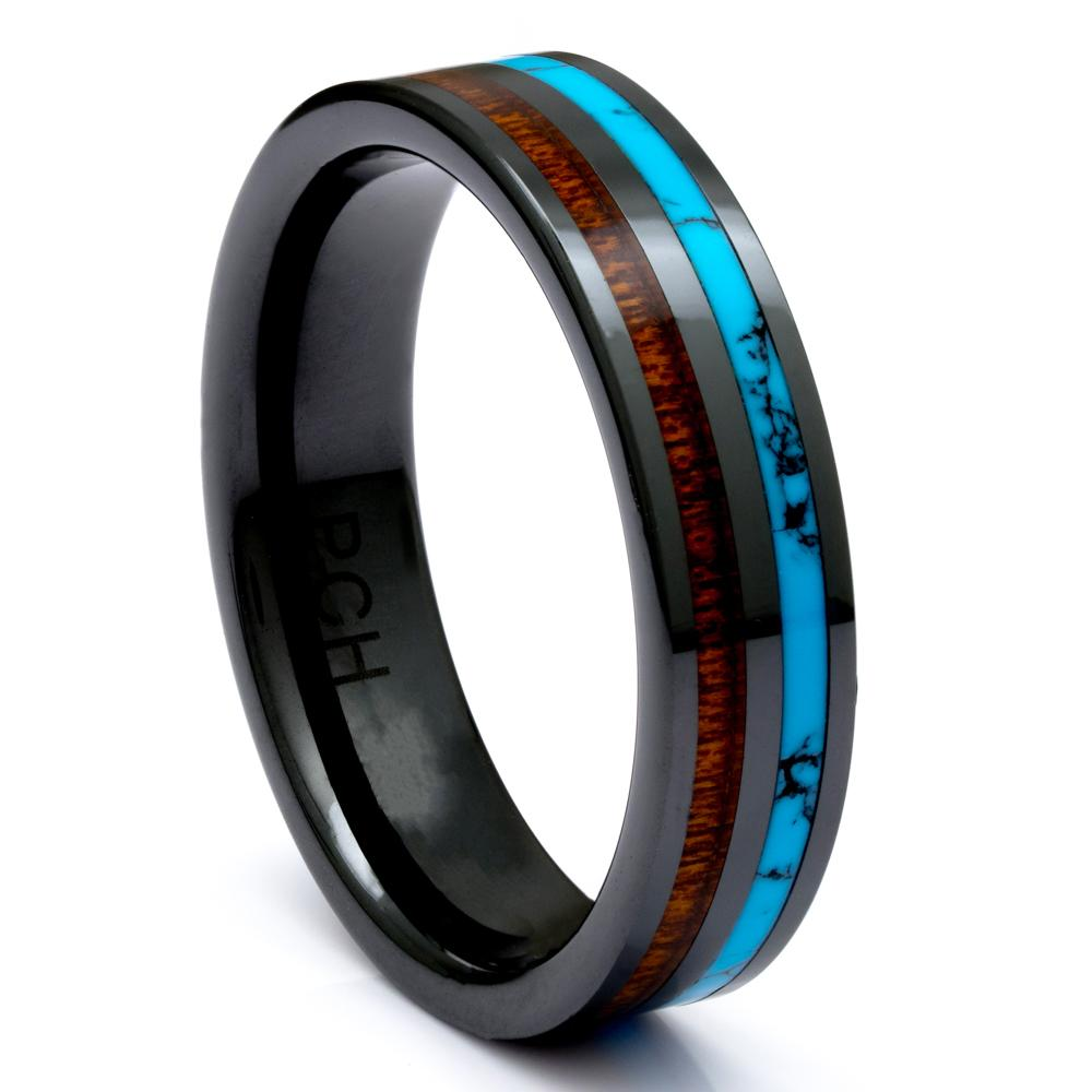 Black Ceramic Wood Ring With Turquoise Inlay, 6mm Comfort Fit Wedding Band - PCH Rings
