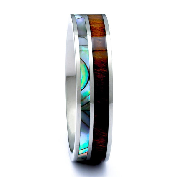 Hawaiian Koa Wood Ring With Abalone Inlay, 6mm Titanium Wedding Band - PCH Rings