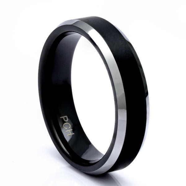 Men's Black Tungsten Ring With Satin Finish, 6mm Comfort Fit Wedding Band - PCH Rings