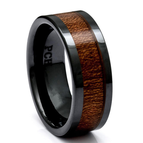 Hawaiian Koa Wood Ring, Black Ceramic Ring, 9mm Comfort Fit Wedding Band - PCH Rings