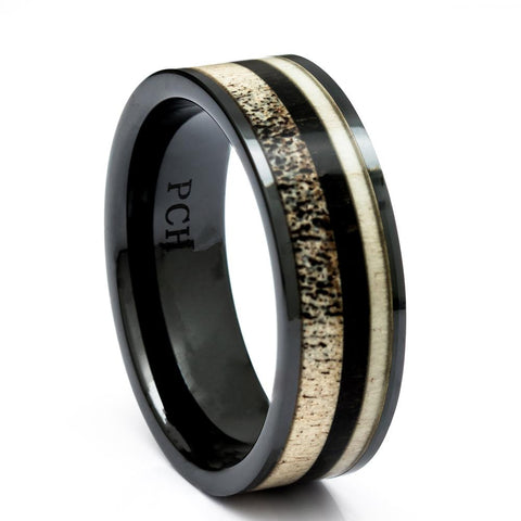 Men's Deer Antler Ring In Black Ceramic With Ebony Wood Inlay, 8mm Comfort Fit Wedding Band - PCH Rings