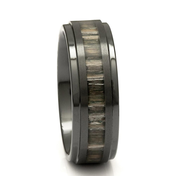 Black Ceramic Wood Ring With Zebra Wood Inlay, 8mm Comfort Fit Wedding Band - PCH Rings