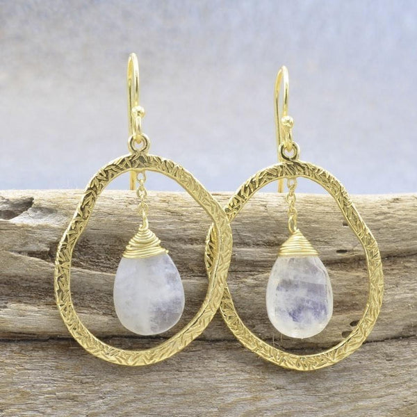 Sterling Silver Moonstone Earrings, Drop Earrings, 14k Gold Overlay Jewelry - PCH Rings