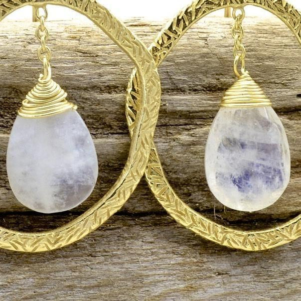 Moonstone Earrings Sterling Dangle with Pear Shape Gemstone - PCH Rings