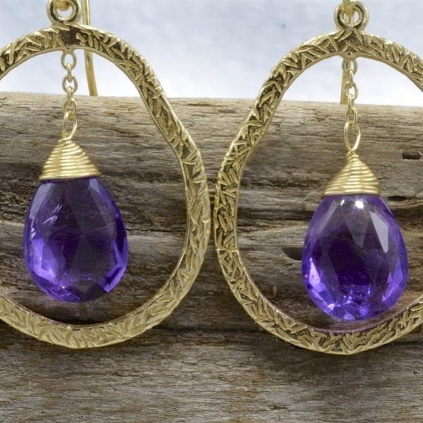 Amethyst Earrings Dangle Sterling Silver 18K Gold Overlay - PCH Rings