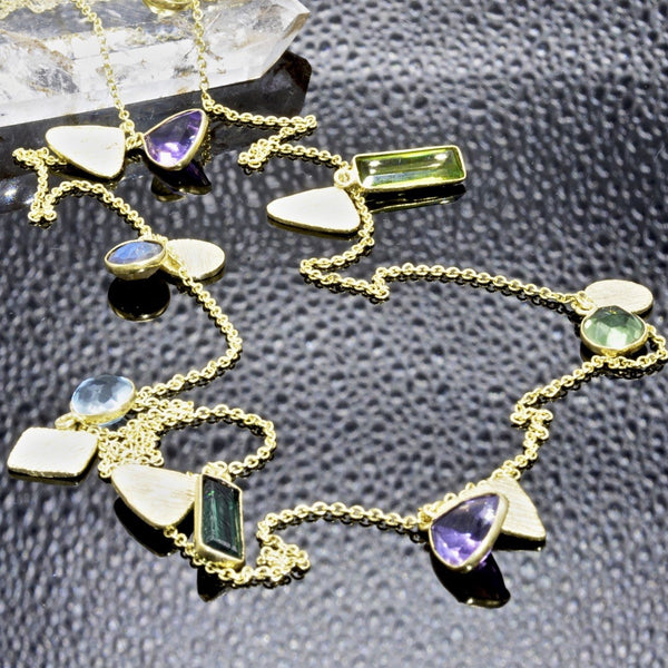"Gemstone Necklace Pendants 36"" Amethyst, Quartz, Labradorite - PCH Rings"