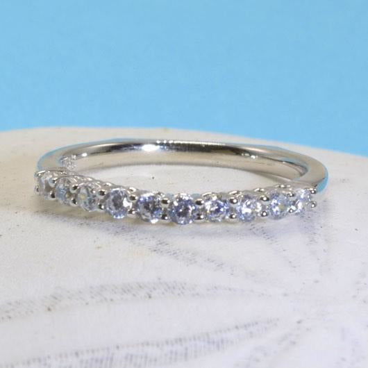 Sterling Silver Wedding Band With Cubic Zirconia, 925 Stacking Ring - PCH Rings