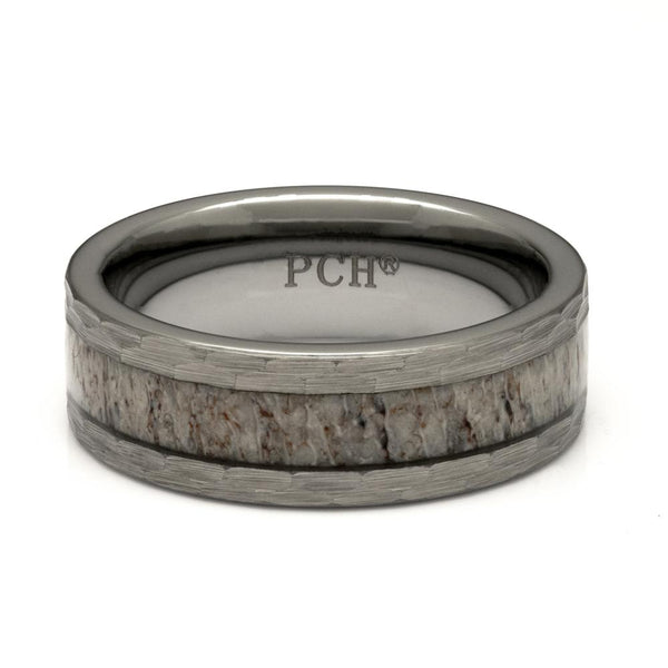 Men's Deer Antler Ring With Hammered Finish, 8mm Comfort Fit Band - PCH Rings