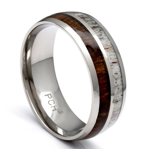 Tungsten Deer Antler Ring With Hawaiian Koa Wood Inlay, 8mm Comfort Fit Wedding Band - PCH Rings
