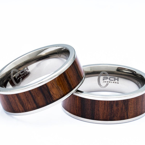 Titanium Ring With Koa Wood Inlay, 8mm Comfort Fit Wedding Band - PCH Rings