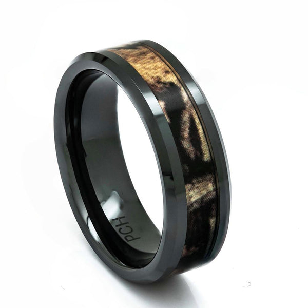 Black Ceramic Camo Ring, 8mm Comfort Fit Wedding Band - PCH Rings