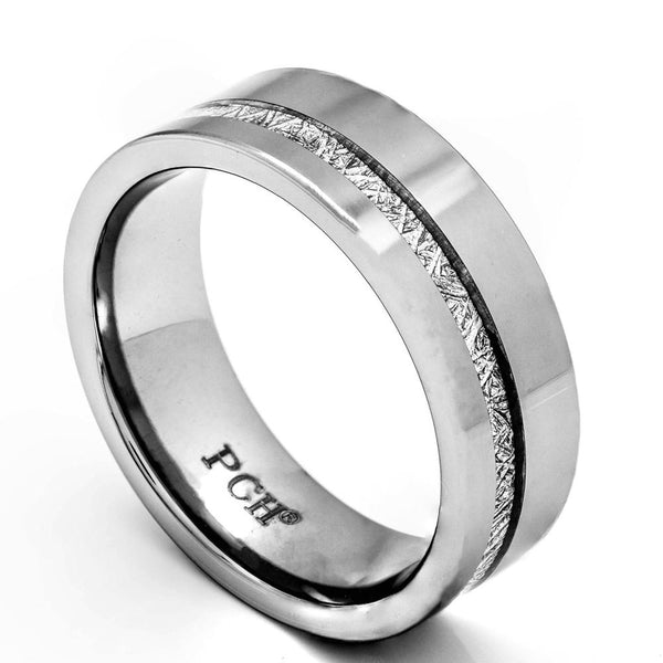 Men's Meteorite Ring In Tungsten Carbide, 8mm Comfort Fit Wedding Band - PCH Rings