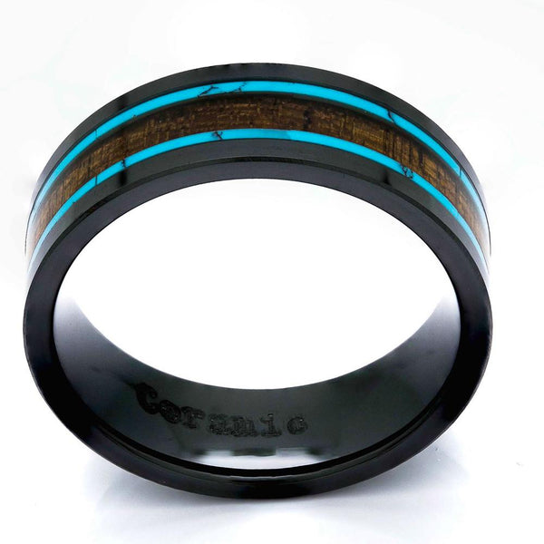 Black Ceramic Wood Ring With Turquoise Inlay, 8mm Comfort Fit Wedding Band - PCH Rings