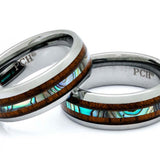 Tungsten Ring With Hawaiian Koa Wood and Abalone Inlay 8mm Comfort Fit Wedding Band