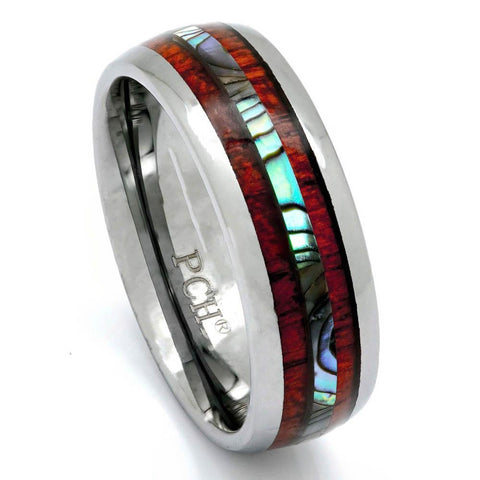 Tungsten Wood Ring With Abalone Inlay, 8mm Comfort Fit Wedding Band - PCH Rings