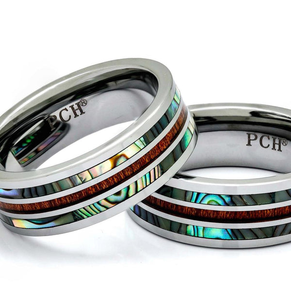 Tungsten Wood Ring With Abalone Shell Inlay, 8mm Comfort Fit Wedding Band - PCH Rings