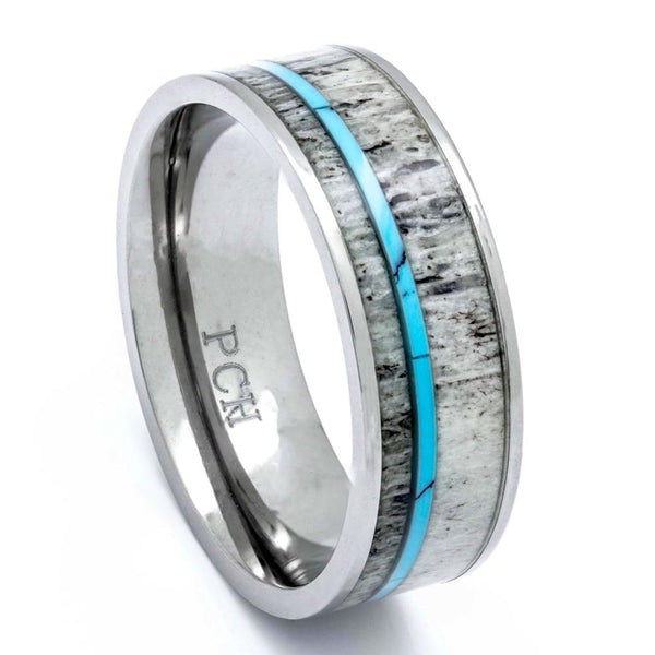 Titanium Deer Antler Ring With Turquoise Inlay, 8mm Comfort Fit Wedding Band - PCH Rings