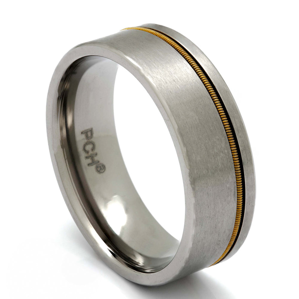 Titanium Guitar String Ring, 8mm Comfort Fit Wedding Band - PCH Rings