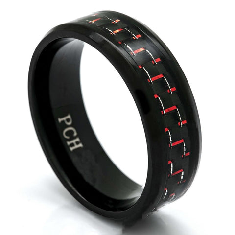 Men's Black Titanium Ring With Red and Black Carbon Fiber, 8mm Comfort Fit Wedding Band - PCH Rings