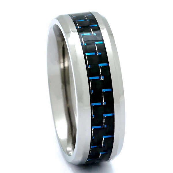 Titanium Ring With Blue Carbon Fiber Inlay, 8mm Comfort Fit Wedding Band - PCH Rings