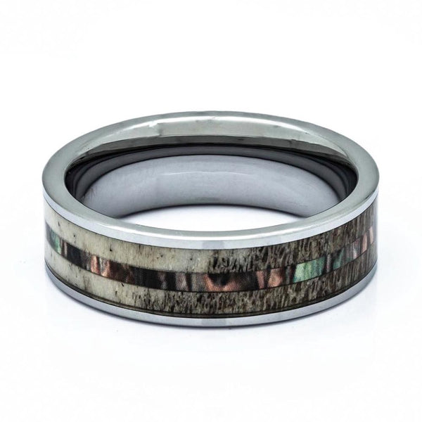 Deer Antler Ring With Camouflage Inlay, Titanium Ring, 8mm Comfort Fit Wedding Band - PCH Rings