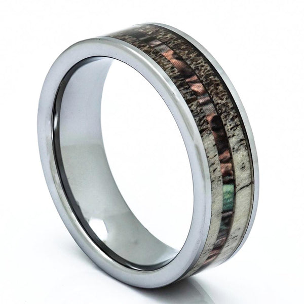 Tungsten Deer Antler Ring With Camo Inlay, 8mm Comfort Fit Wedding Band - PCH Rings