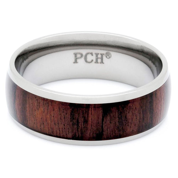 Titanium Wood Ring With Genuine Hawaiian Koa Wood, 8mm Comfort Fit Wedding Band - PCH Rings