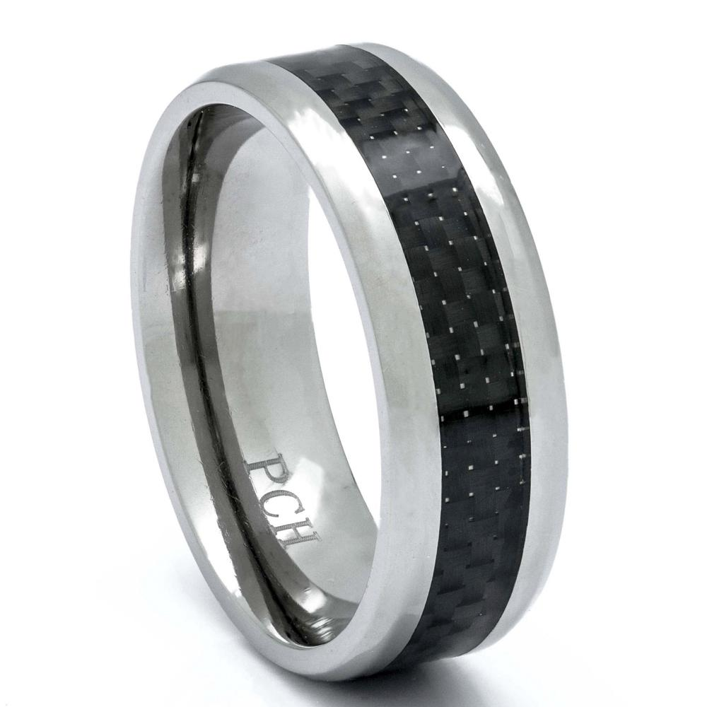 Men's Titanium Ring With Black Carbon Fiber Inlay, 8mm Comfort Fit Wedding Band - PCH Rings