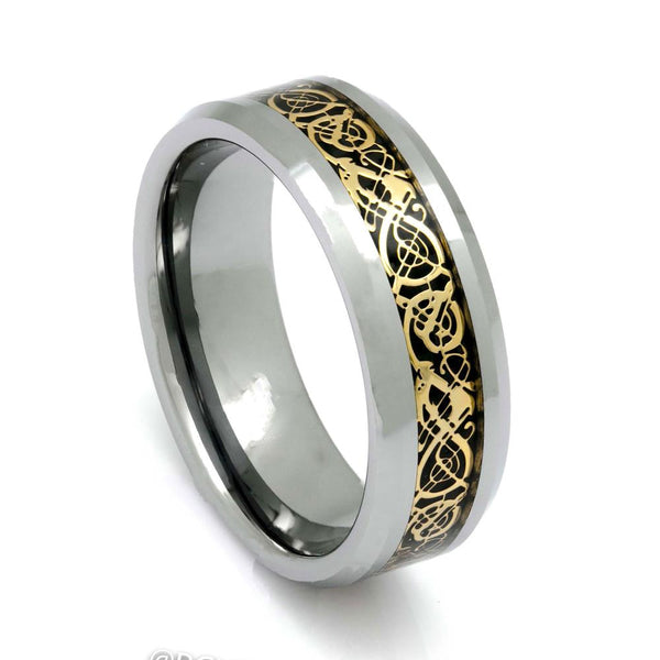 Men's Tungsten Ring With Celtic Pattern Inlay, 8mm Comfort Fit Wedding Band - PCH Rings