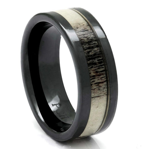 Men's Deer Antler Ring in Black Ceramic, 8mm Comfort Fit Wedding Band - PCH Rings