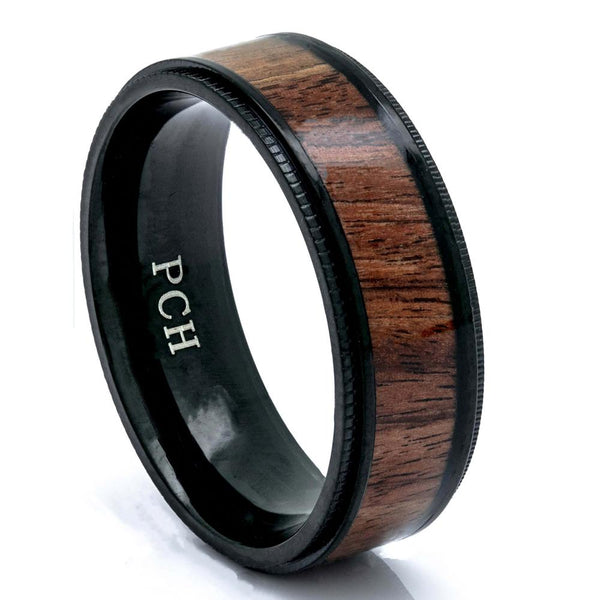 Titanium Koa Wood Ring, Black Titanium, 8mm Comfort Fit Wedding Band - PCH Rings