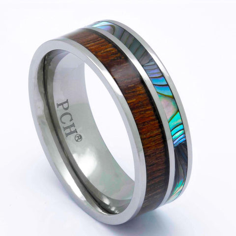Titanium Koa Wood Ring With Abalone Inlay, 8mm Comfort fit Wedding Band - PCH Rings