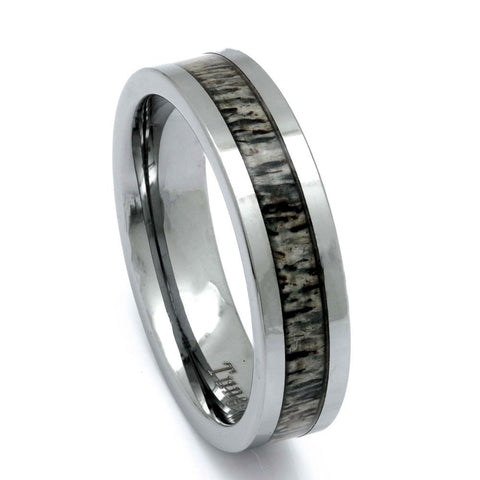 Tungsten Deer Antler Ring, 6mm Comfort Fit Wedding Band - PCH Rings