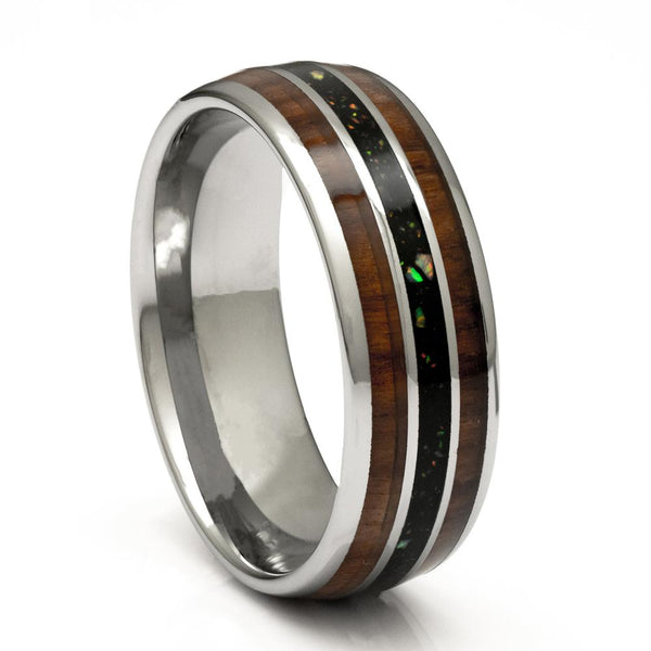 Tungsten Ring With Wood and Opal Inlay, 8mm Comfort Fit Wedding Band - PCH Rings