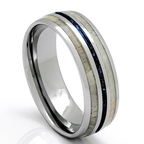 Tungsten Deer Antler Ring With Blue Lapis Inlay, 8mm Comfort Fit Wedding Band - PCH Rings