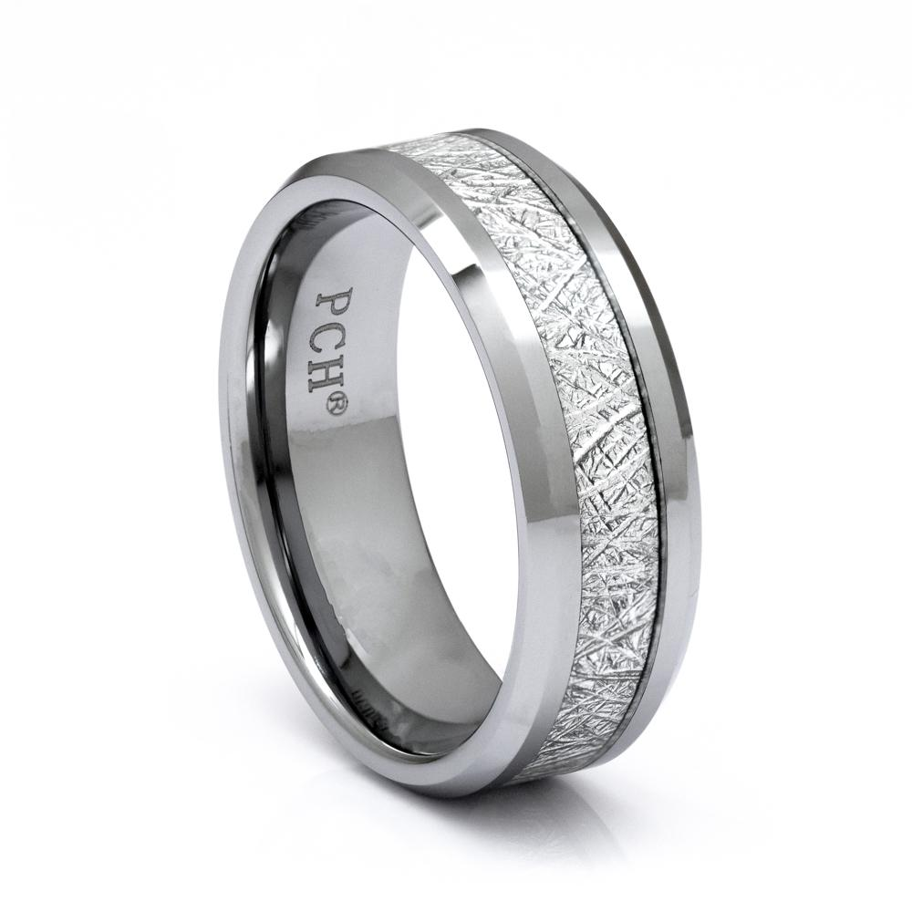 Men's Meteorite Tungsten Ring, 8mm Comfort Fit Wedding Band - PCH Rings