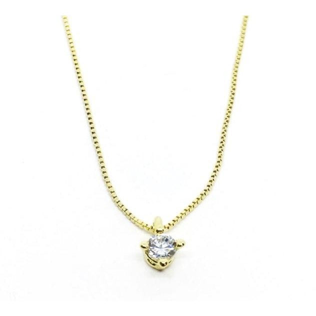 Fashion Necklace With Cubic Zirconia Solitaire Pendant, 18k Gold Overlay - PCH Rings