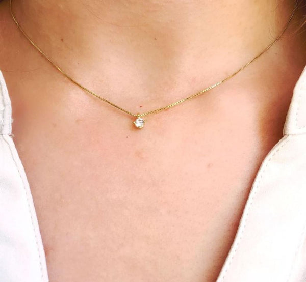 "CZ Necklace 18K Gold Fill Box Chain 18"" Petite - PCH Rings"