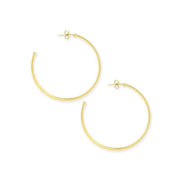"Fashion Gold Hoop Earrings, 2"" Long, 3/4 Hoop With Post - PCH Rings"