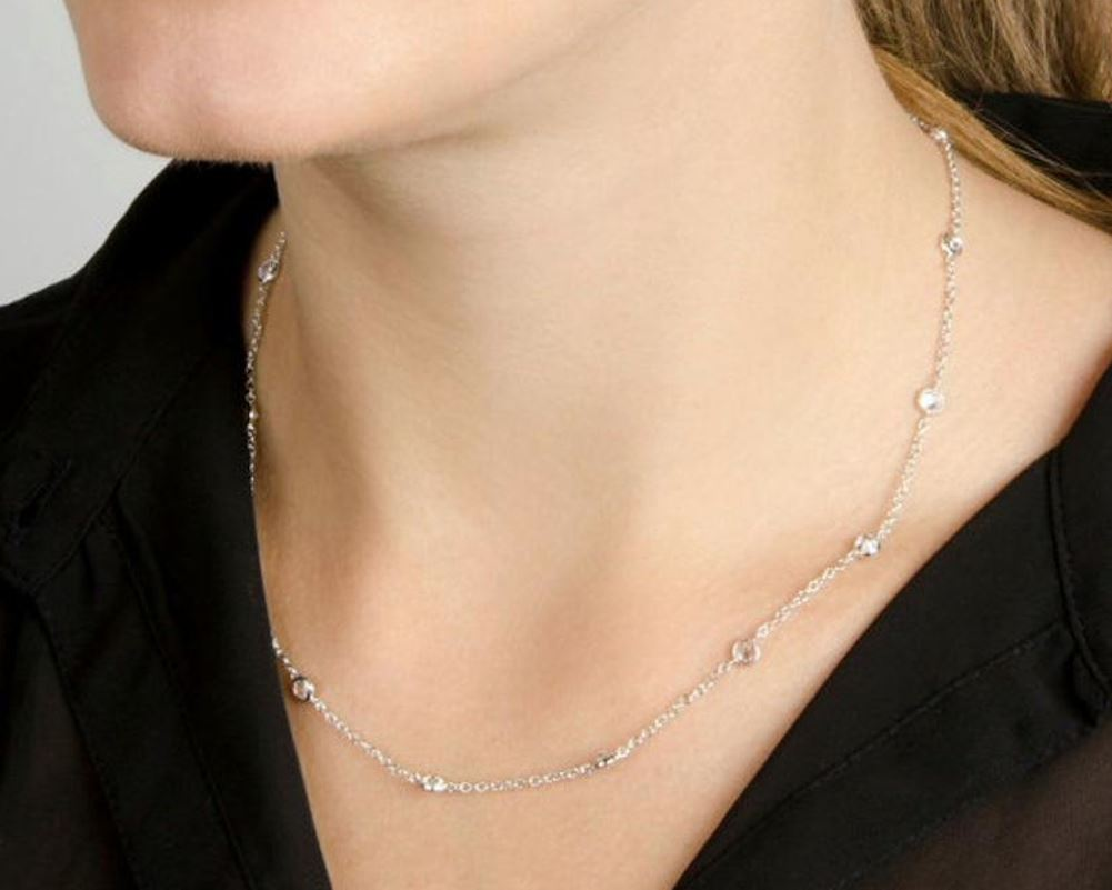 Sterling Silver Necklace With Bezel Set Cubic Zirconia, 925 Tiffany Style Necklace - PCH Rings